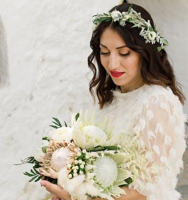 Πρωτέας Rustic Style Bridal Bouquet Νυφικό Μπουκέτο