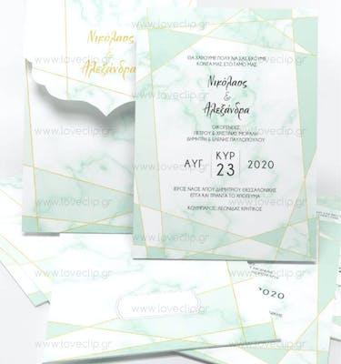 Προσκλητήριο Γάμου Mint n' Marble