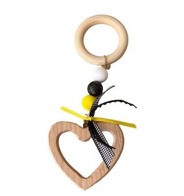 Καρδιά Ξύλινη με κρίκο Κίτρινο Μαύρο
