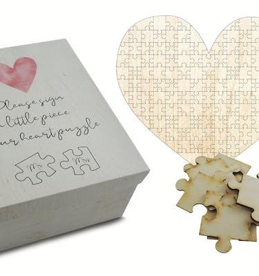 Puzzle Ξύλινο Καρδιά Τυπωμένο 48x43 141 Κομμάτια Με Κουτί