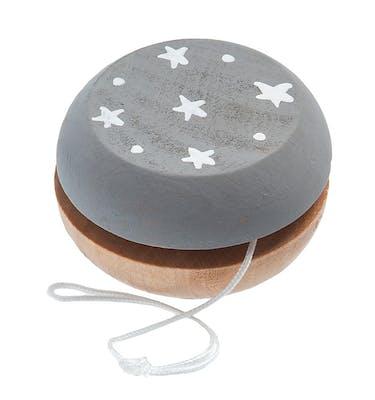 Ξύλινη Ζωγραφιστό Γιογιο Σε Γκρι/Λευκά Αστέρια