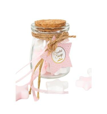 Βαζάκι Με Αστεράκια Σαπουνάκια Άσπρα & Ροζ