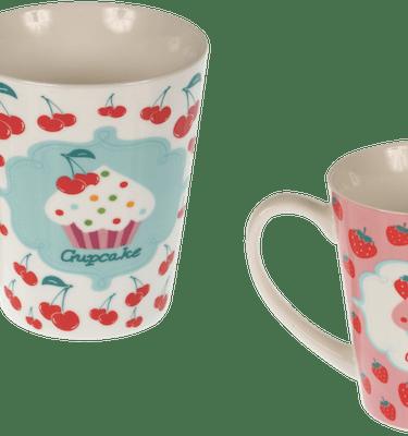 Μπομπονιέρα Βάπτισης Cupcake Κούπα Πορσελάνης (σετ των 2)