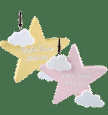 Μπομπονιέρα Βάπτισης Aστέρι Ροζ & Κίτρινο με Ευχούλα (σετ των 2)