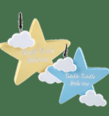 Μπομπονιέρα Βάπτισης Aστέρι Σιέλ & Κίτρινο με Ευχούλα (σετ των 2)