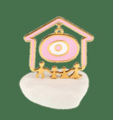 Μπομπονιέρα Βάπτισης Σπιτάκι Χαρούμενη Οικογένεια με Μάτι σε Βότσαλο