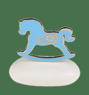 Μπομπονιέρα Βάπτισης Άλογο Σιέλ με Ματάκι σε Βότσαλο