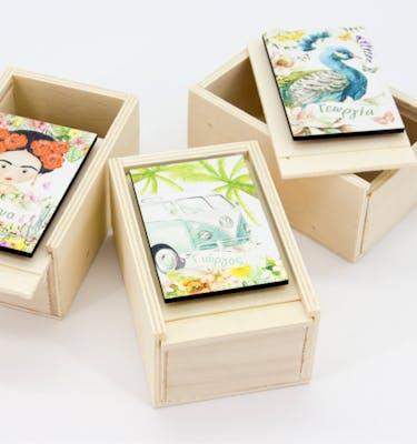 Ξύλινο Κουτί Συρταρωτό & Woodie Tag