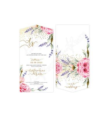 Προσκλητήριο Γάμου Φάκελος Λουλούδια