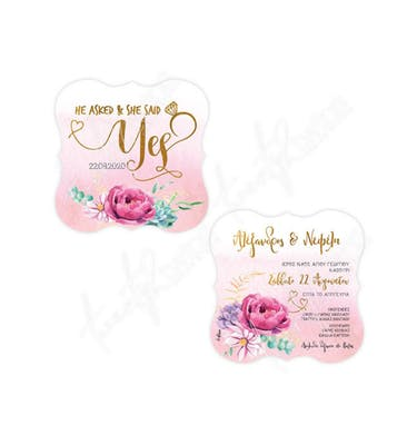 Προσκλητήριο Γάμου Pink Gold