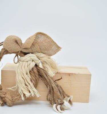 Μπομπονιέρα κοχύλια με λινάτσα