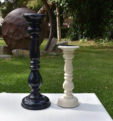 Κηροπήγιο Λευκό  -  Mαύρο Κεραμικό