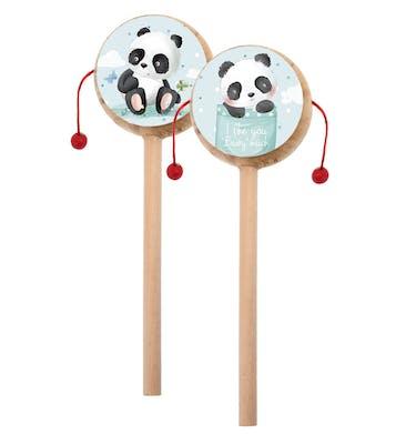 Ξύλινο Τυμπανάκι Με Αυτοκόλλητο  Panda