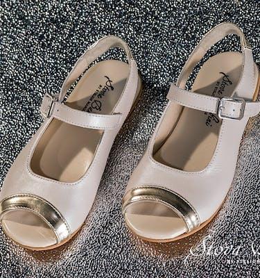 Βαπτιστικά Παπούτσια SS2021 Peep Toe Gold Mirror