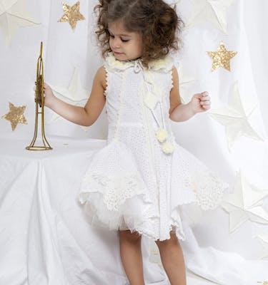 LEILΑ Λευκό Βαμβακερό Φόρεμα