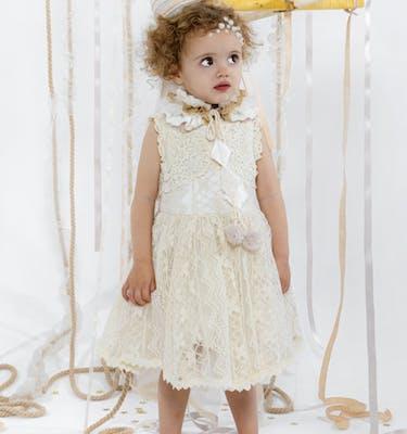 ZELDA Βαμβακερό Εκρού Δαντελένιο Φόρεμα